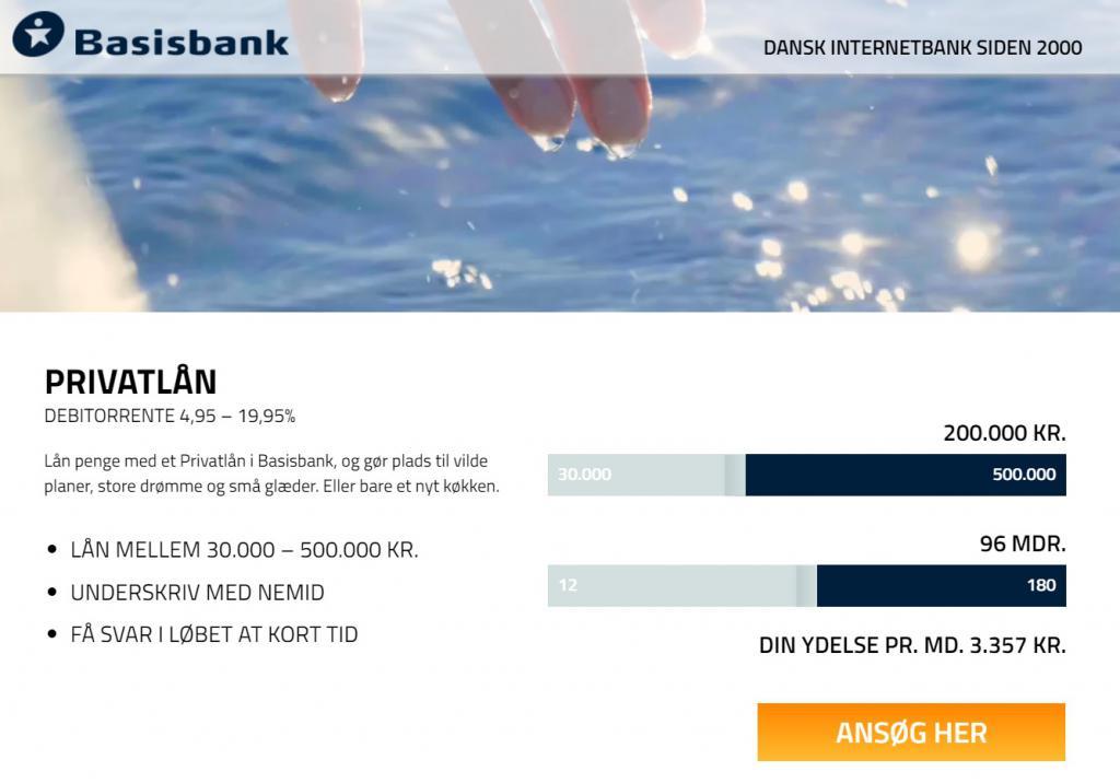 lån op til 500.000 kr hos basisbank