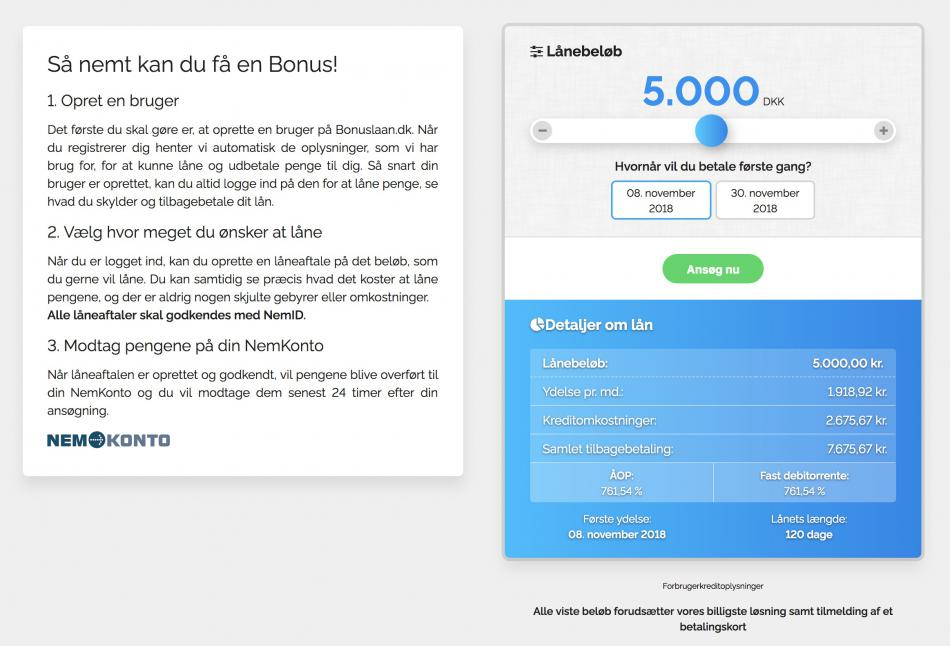 Bonuslån registerering